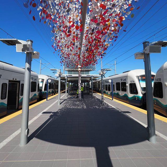Trains at the new Angle Lake Station