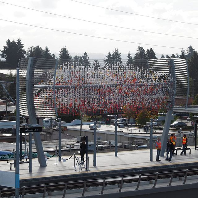 Another view of Cloud, the new public art centerpiece of the Angle Lake Station