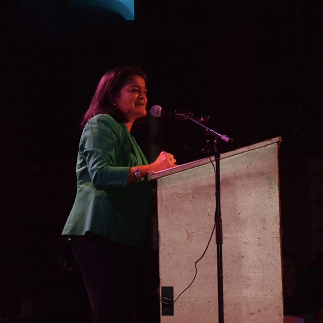 Pramila Jayapal rallies supporters in Seattle with twenty-five days to go until the 2016 election's conclusion