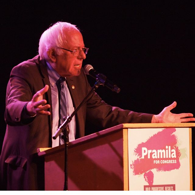 """It's not about me, it's not about Pramila, it's about us"": Bernie Sanders rallies with supporters of Pramila Jayapal"