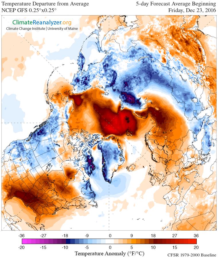 Arctic heatwave: Average Temperature Anomaly