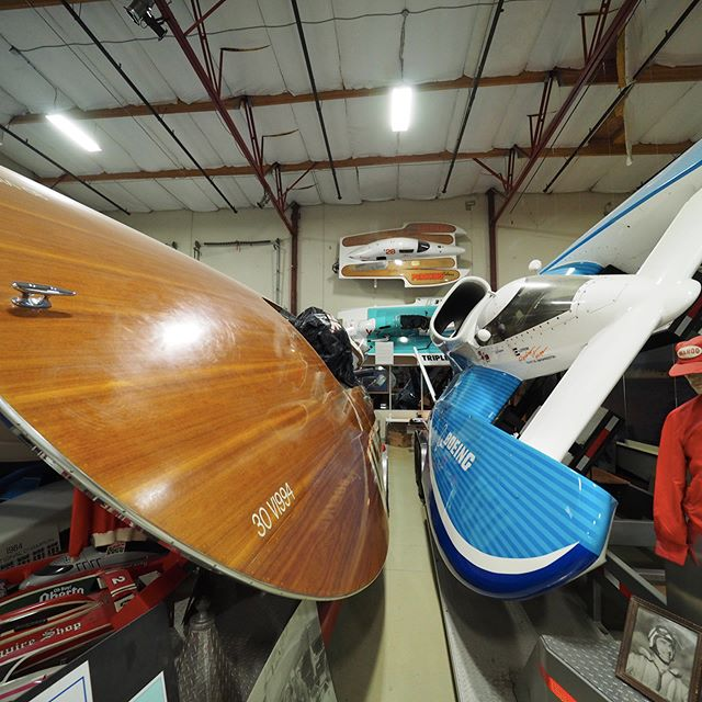 Wide angle view of some of the hydroplanes at the Hydroplane and Raceboat Museum, host venue for Permanent Defense's Fifteenth Anniversary Celebration