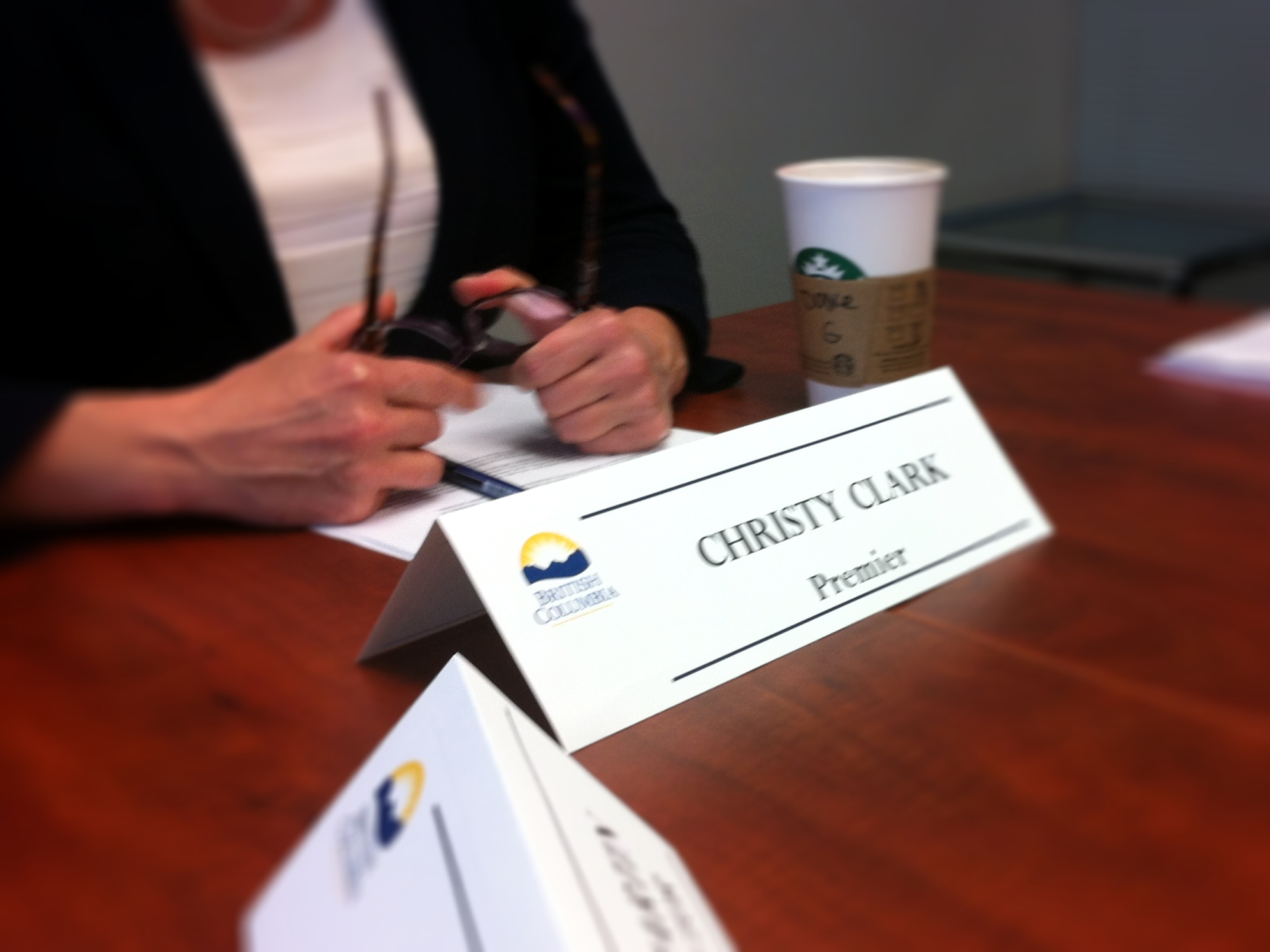 Christy Clark's name tag and Starbucks