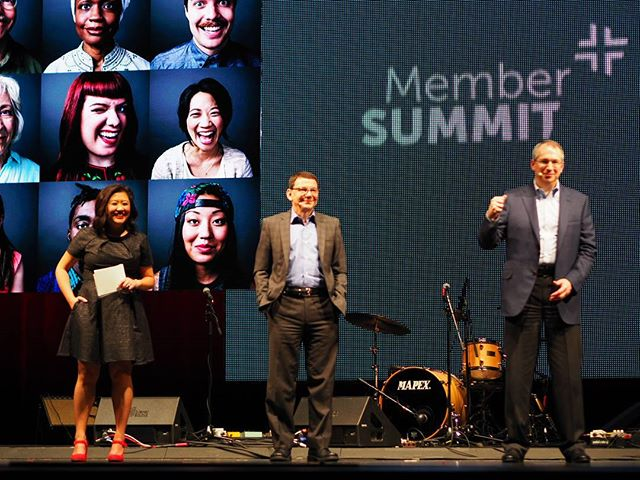 KING5's Michelle Li, BECU Board Chair David Yonce, and BECU CEO Benson Porter onstage at the credit union's second annual Member Summit #NPIAtBECUMemberSummit