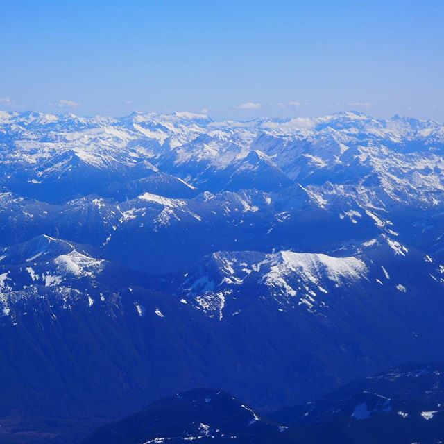 Aerial view of a snowcapped slice of the Cascade Range