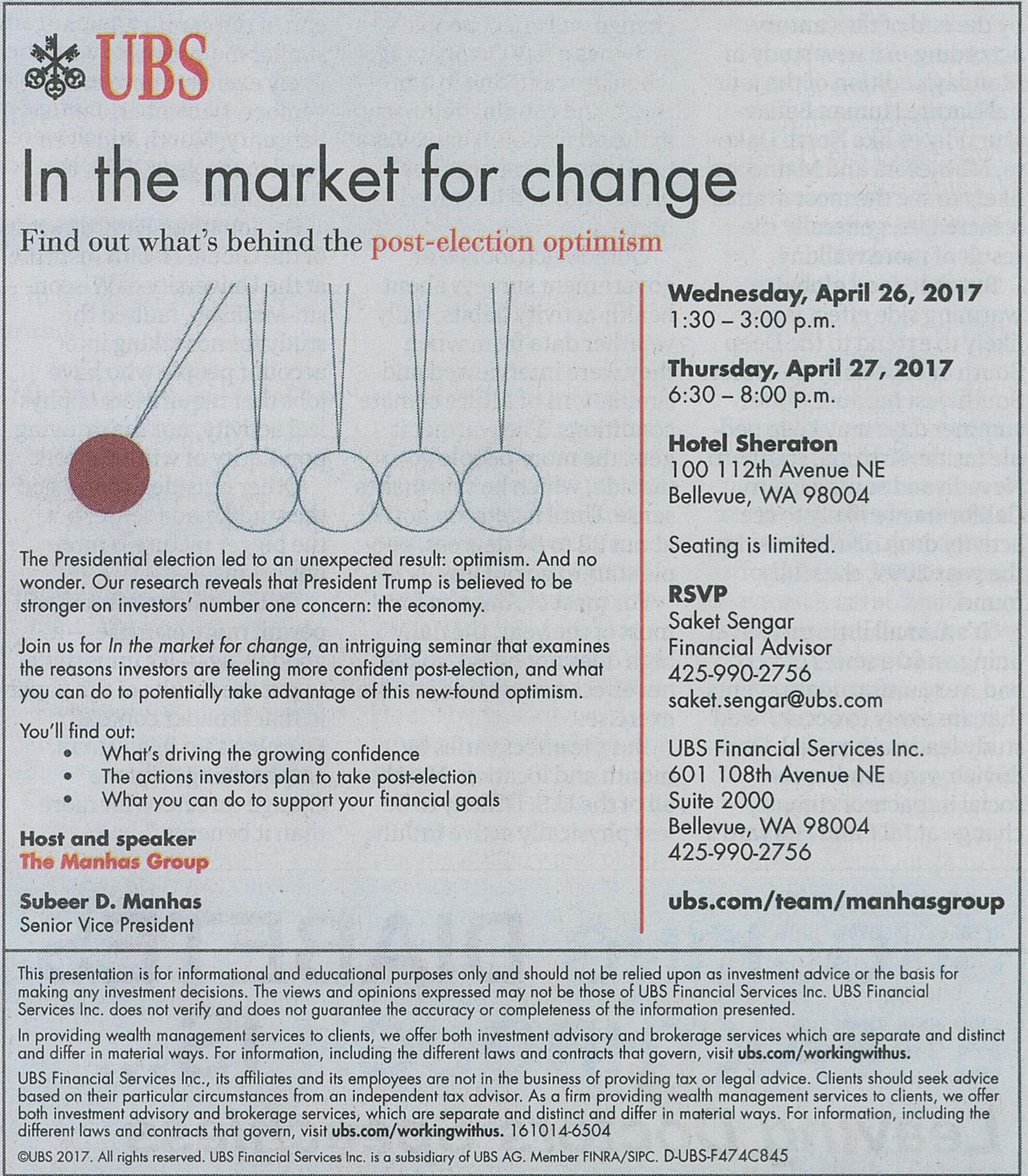 A UBS ad from The Seattle Times