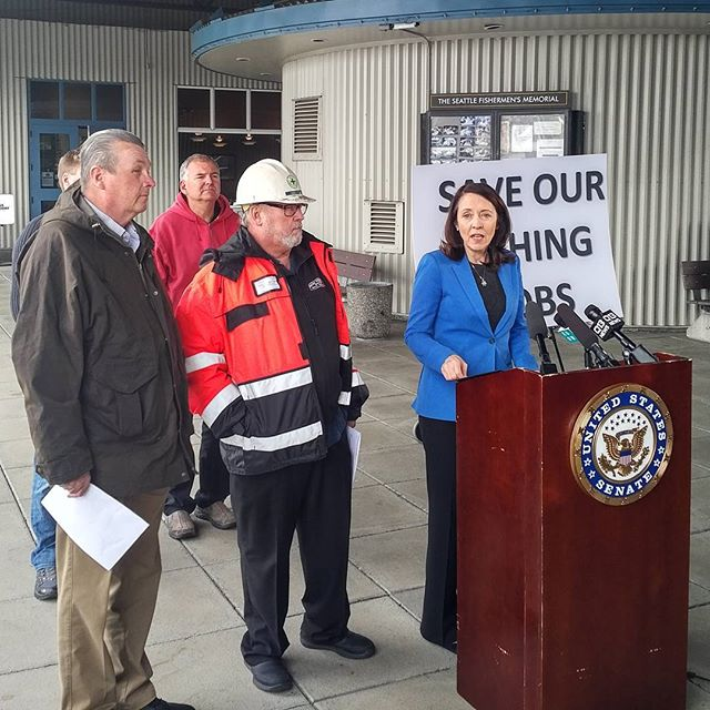 Flanked by fishermen, Senator Cantwell blasts the Trump regime's scheme to grease the skids for a new Pebble Bay mine