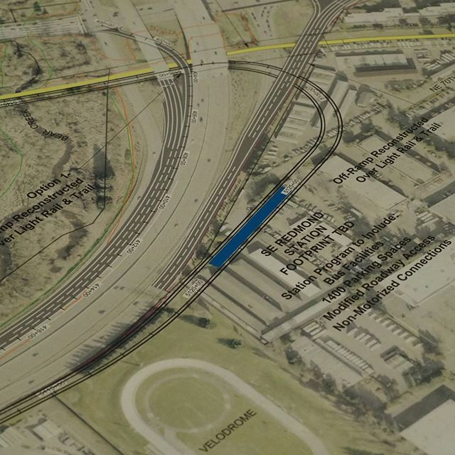 Snapshot of a drawing showing where the Southeast Redmond light rail station will go