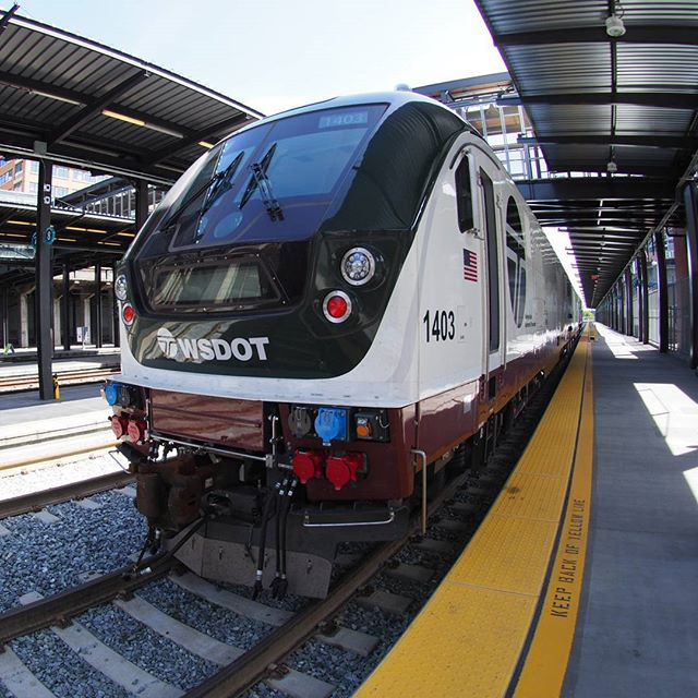 Fisheye view of a brand new Siemens Charger locomotive manufactured for use on Amtrak's Cascades route, which is funded by Washington and Oregon taxpayers