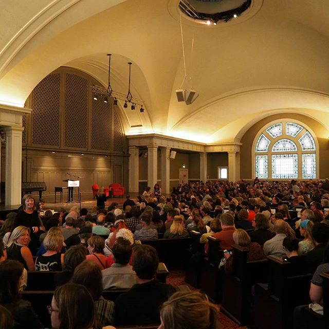 A capacity crowd at Town Hall waits for Minnesota Senator Al Franken to speak about his new book Giant of the Senate