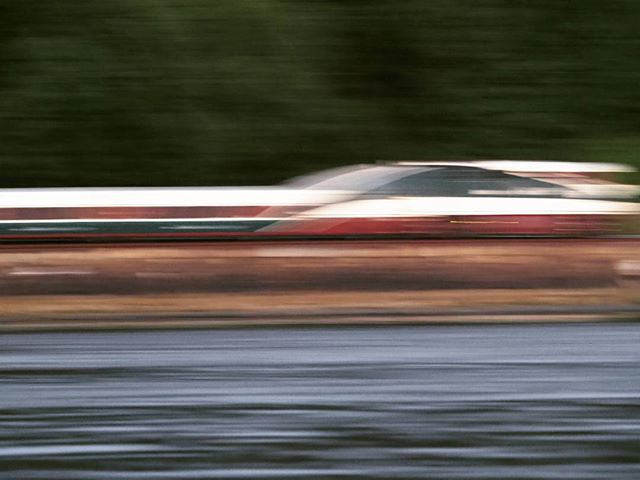 An Amtrak Cascades train on the move (Artistic blur with Ludwig filter)