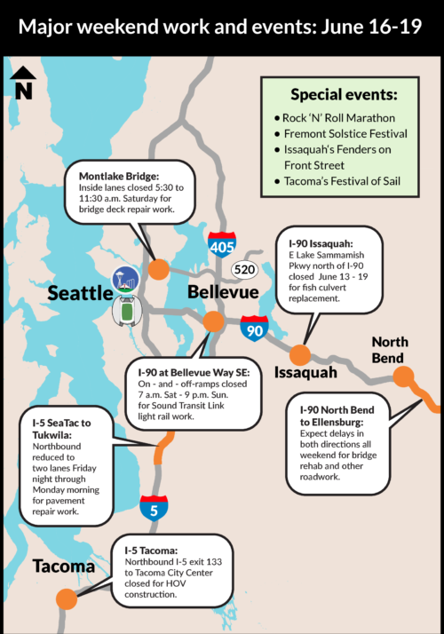 Heads up: Lots of construction projects will affect Puget Sound highways this weekend