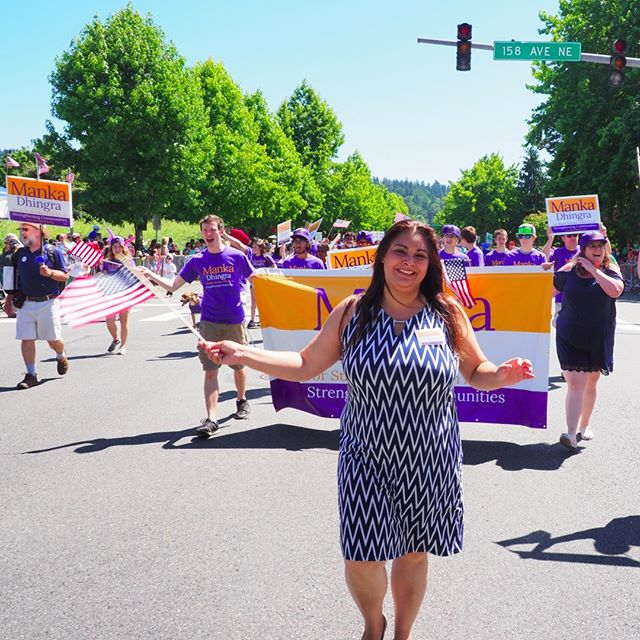 45th LD Senate candidate Manka Dhingra finishes the Grand Parade at the seventy-seventh annual Redmond Derby Days