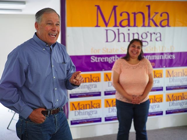 Governor Jay Inslee rallies volunteer canvassers for Manka Dhingra