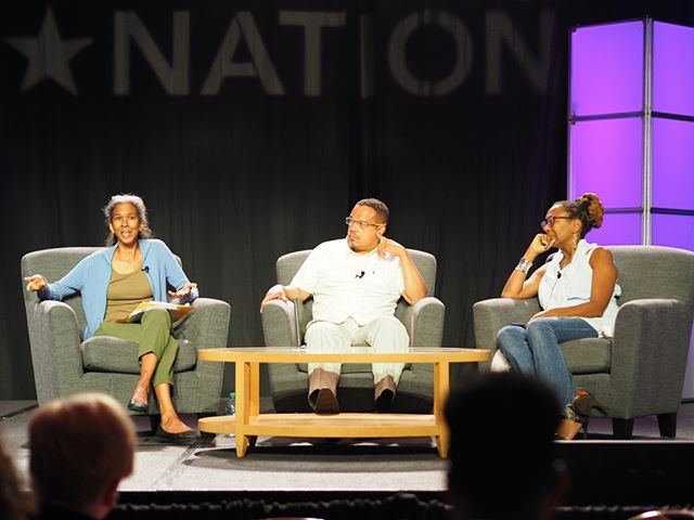 Scenes from Netroots Nation 2017: Janine Jackson, Keith Ellison, and Kimberle Crenshaw discuss building independent media infrastructure #NN17