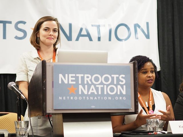 Scenes from Netroots Nation 2017: Elizabeth Arnold and Kellie Dupree at Navigating Ballot Initiatives for Progressive Change #NN17