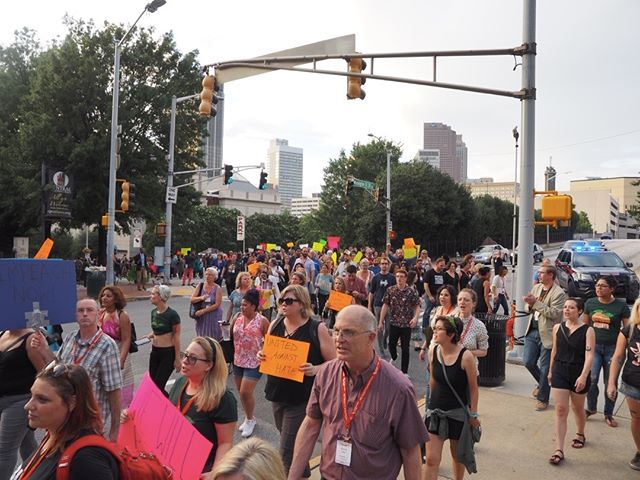 Scenes from the Atlanta March and Vigil for Charlottesville: Arriving at the Georgia statehouse #NN17