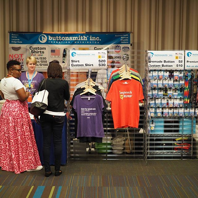 Scenes from Netroots Nation 2017: Buttonsmith is a local company (+union shop!) that makes buttons, business cards, t-shirts, Tinker Reels, and much more