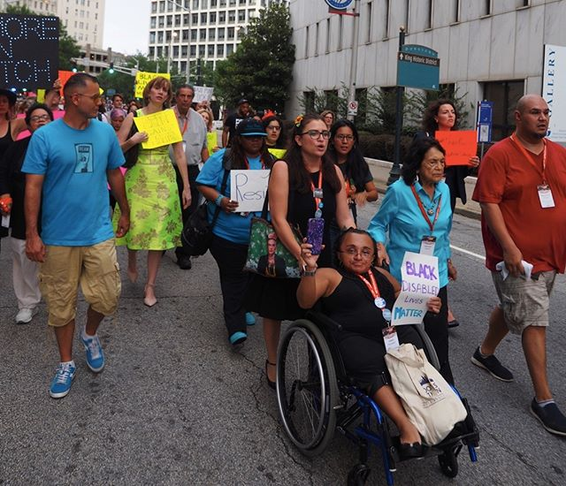 Scenes from the Atlanta March and Vigil for Charlottesville: Black disabled lives matter #NN17
