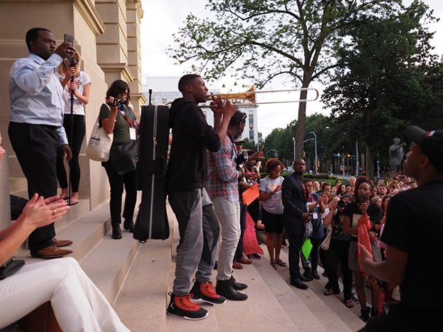 Scenes from the Atlanta March and Vigil for Charlottesville: Trombone performance #NN17