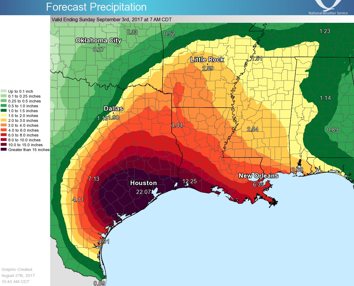 Hurricane/Tropical Storm Harvey Forecast Precipitation