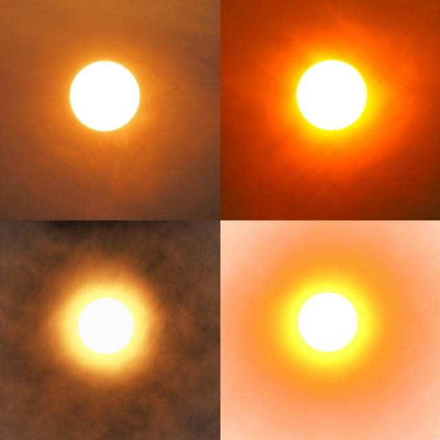 Four views of a sun obscured by smoke; three with filters applied and one without