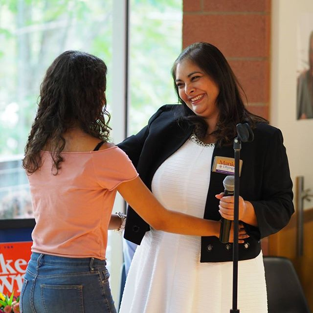 Democratic Senate candidate Manka Dhingra thanks one of the DACA recipients Washington State is suing the Trump regime to defend