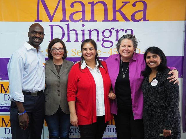 Manka Dhingra with DNC Vice Chair Michael Blake, U.S. Representative Suzan DelBene, Washington State Democratic Party Chair Tina Podlodowski, and Sammamish City Council candidate Rituja Indapure