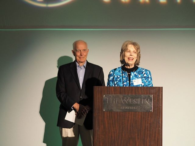 Flanked by the legendary Governor Dan Evans, Mary Lowry accepts an award from the Washington Wildlife and Recreation Coalition on behalf of her husband, the late Governor Mike Lowry