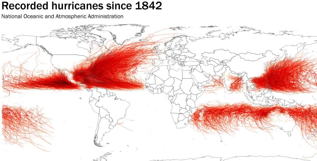 Recorded hurricanes since 1842
