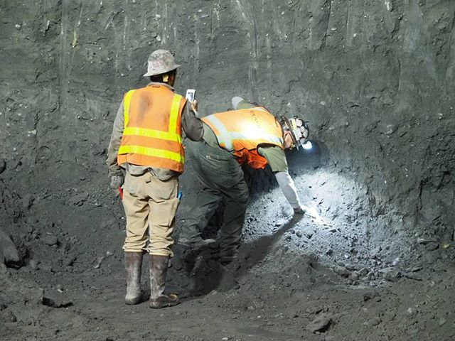 Inside Sound Transit's downtown Bellevue construction zone: Workers at the diggings examine soils