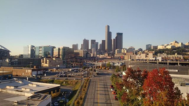 Downtown Seattle on a clear October day, seen from the I-90 transit ramps