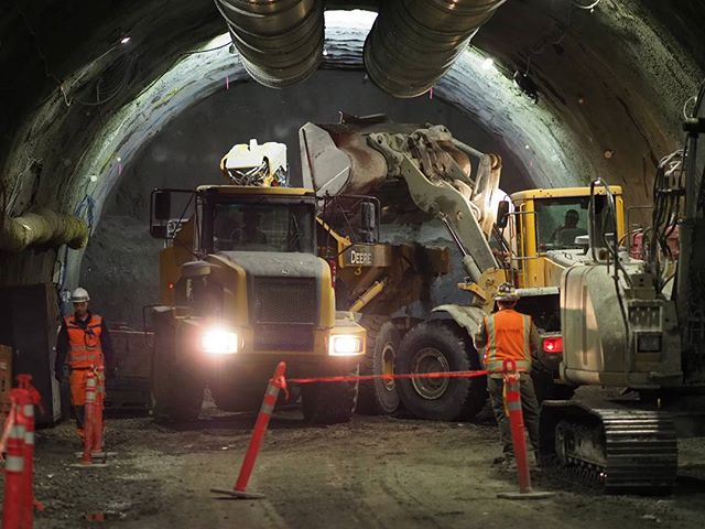 Inside Sound Transit's downtown Bellevue construction zone: Excavating dirt in the tunnel