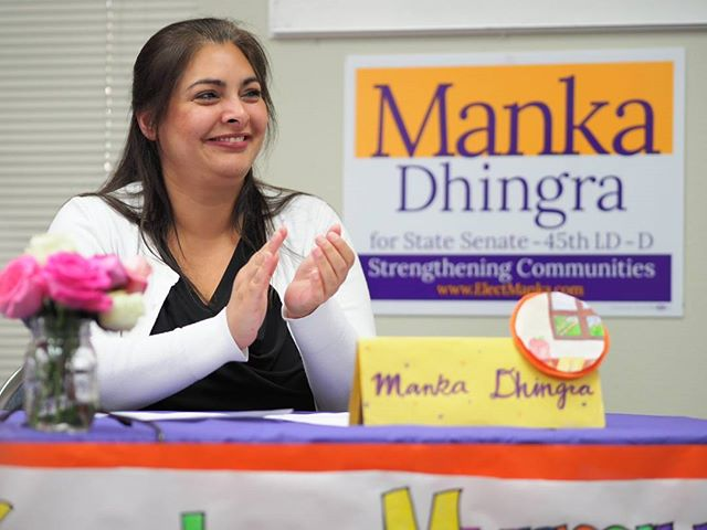 Democratic State Senate candidate Manka Dhingra applauds the work of her Teen Campaign Committee