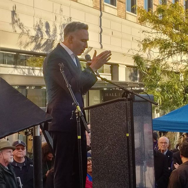 Dow Constantine is fired up in front of a large supportive crowd.