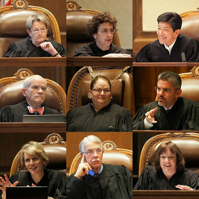 The nine: Washington State's Supreme Court justices at work; photographed during a hearing in McCleary v. State