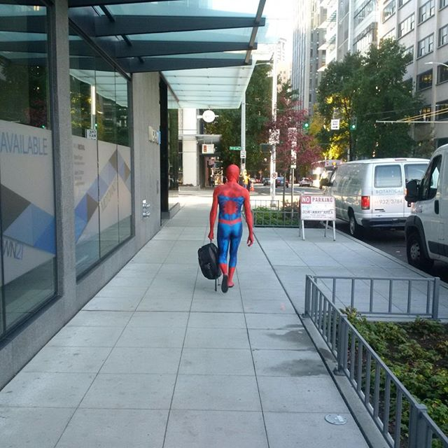Spider-Man enroute to work in downtown Seattle: Happy Halloween!