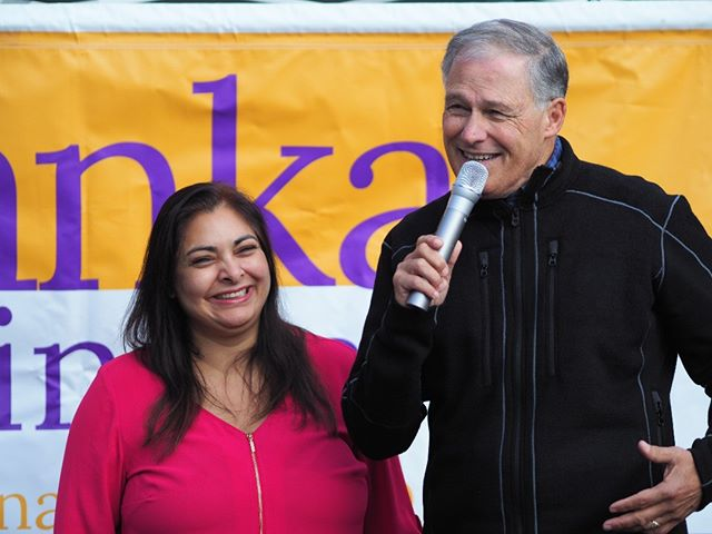 Governor Jay Inslee speaks in support of Manka Dhingra's candidacy for the Washington State Senate