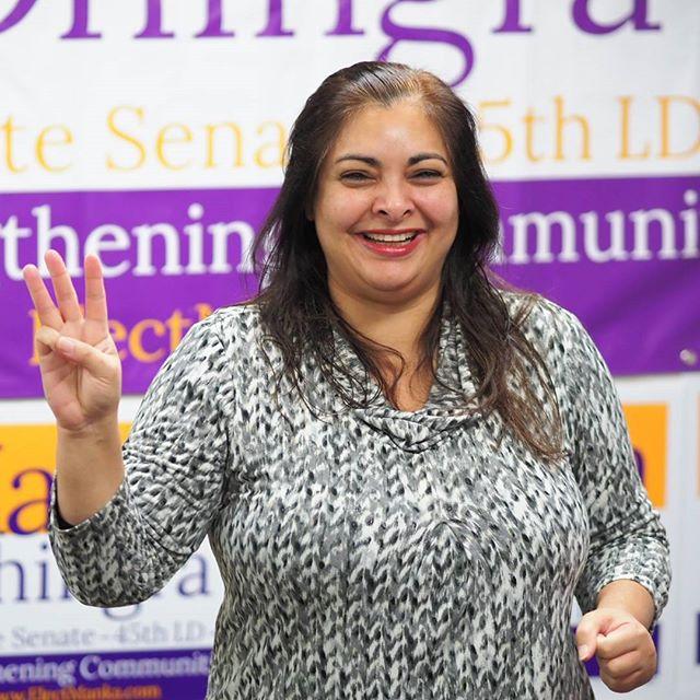 Democratic State Senate Manka Dhingra speaks to volunteers at one of her last canvassing kickoffs