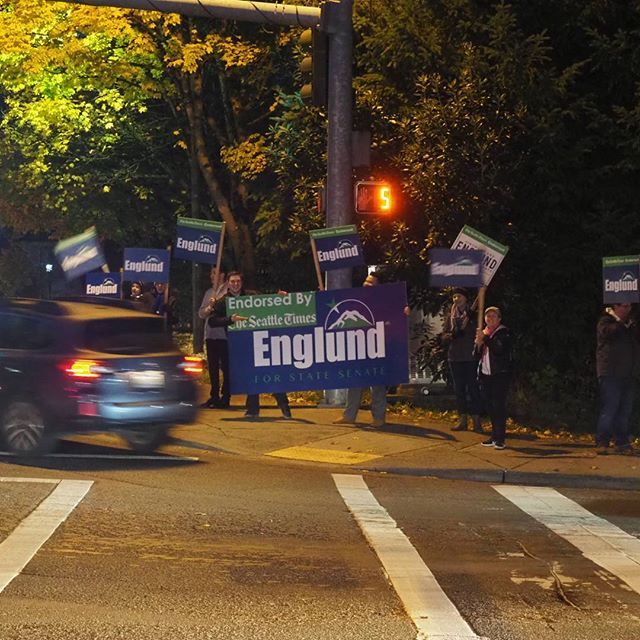 Supporters of Republican candidate Jinyoung Lee Englund wave signs after dusk on eve of election
