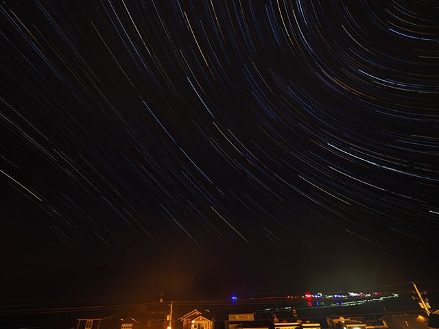 Star trails, photographed from Cannon Beach, Oregon