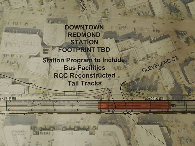 A closeup shot of one of the conceptual alignment profile plans for the Downtown Redmond Link extension