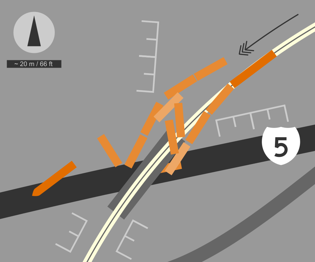 Schematic of Amtrak Cascades 501 derailment