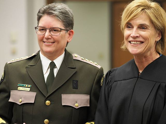 New King County Sheriff Mitzi Johanknecht with King County Superior Court Judge Laura Inveen