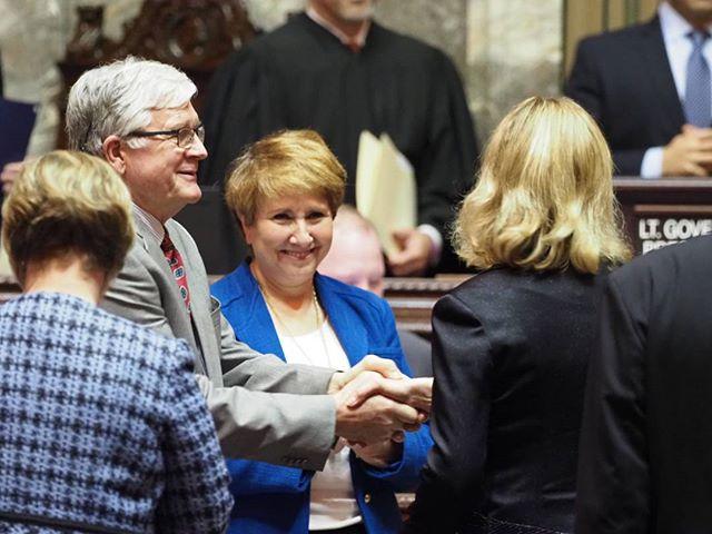 2018 Washington State Legislature Opening Ceremonies: Senators Dean Takko and Lisa Wellman congratulate Senator Patty Kuderer #waleg