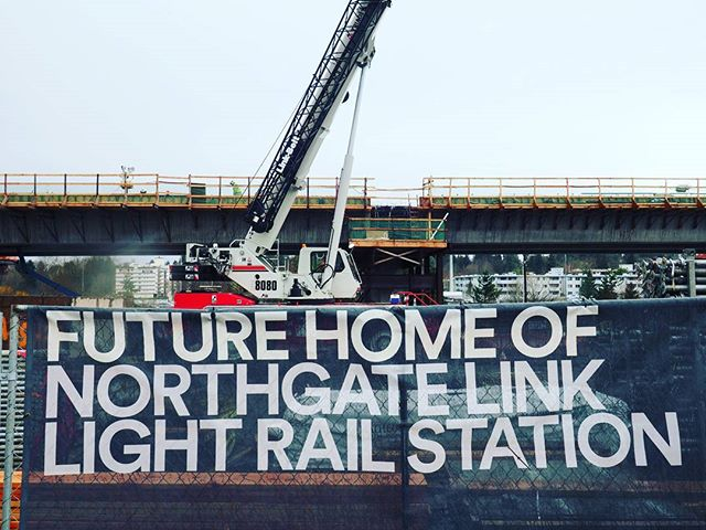 The new Northgate Link light rail station takes shape next to I-5 and the Northgate Mall