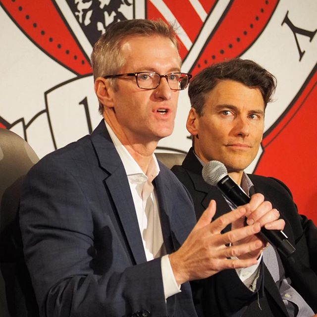 "Mayor Gregor Robertson of Vancouver, BC listens to Mayor Ted Wheeler of Portland at the ""Mayors of Cascadia"" panel at #crosscutfest"