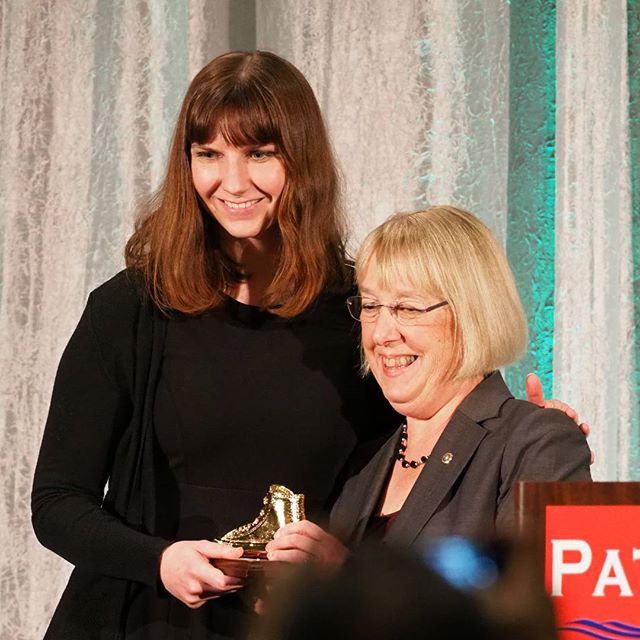 U.S. Senator Patty Murray with Golden Tennis Shoe Award recipient Leah Griffin