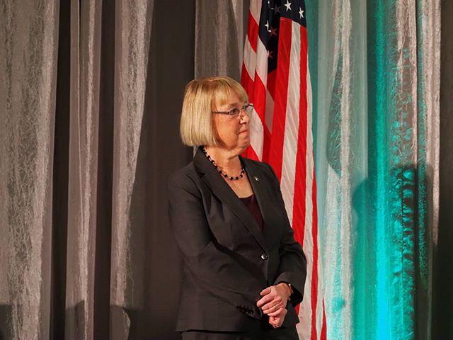 U.S. Senator Patty Murray watches Leah Griffin's Golden Tennis Shoe acceptance speech