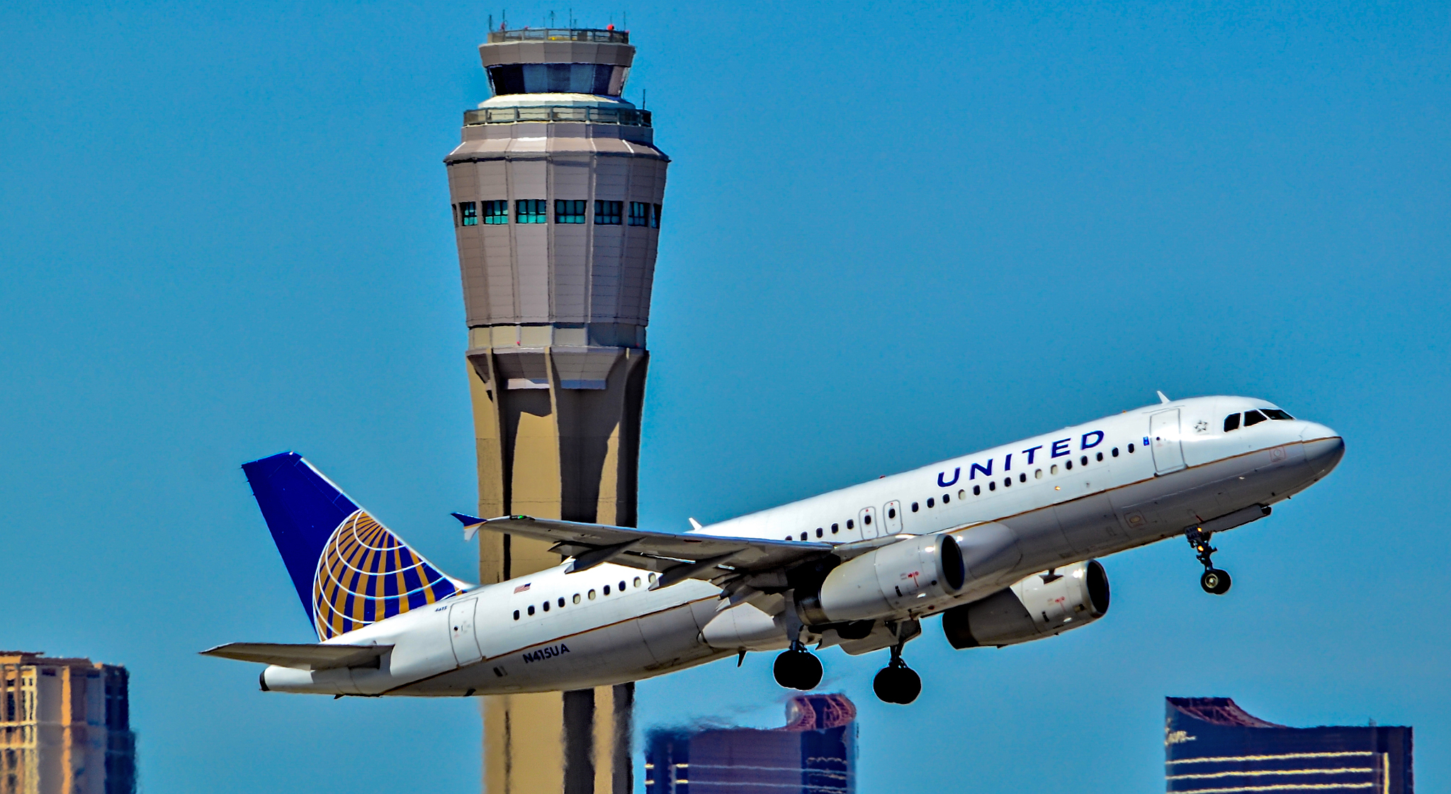 United Airlines jet taking off